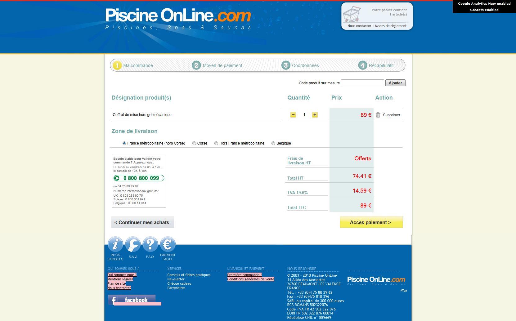 6 exemples de page panier for Piscine online