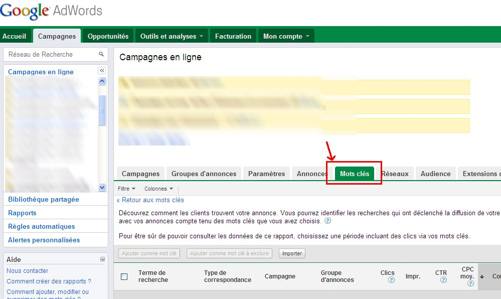 Interface Adwords