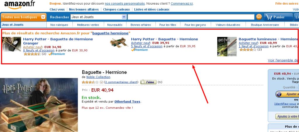 Cross selling Amazon depuis une recherche google
