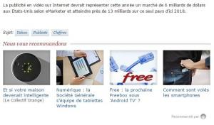 Exemple de Native Advertising sur ZDNet avec OutBrain